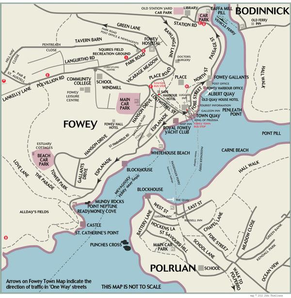 Street Map of Fowey and Polruan in Cornwall - Fowey on