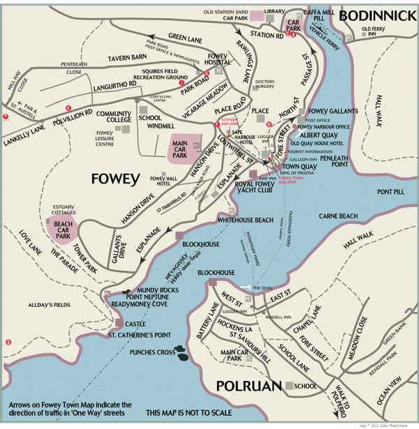street map of fowey and polruan in cornwall