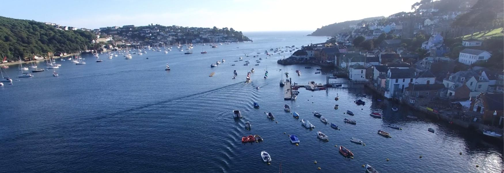 Aerial view of Fowey and Polruan