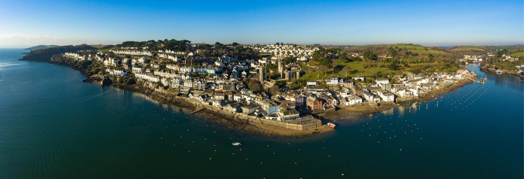Fowey  from the air on a sunny day